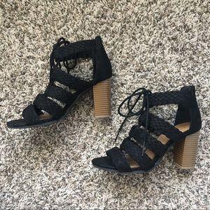 Lace up black sandal booties or heels